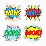 Le discours comique bouillonne avec des émotions - wow, OMG, OH LÀ LÀ ! et BOOM Croquis de bande dessinée des effets de dialogue  illustration de vecteur