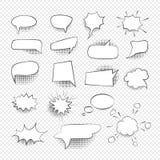 Le discours comique bouillonne ligne mince noire ensemble de signes d'icône Vecteur illustration libre de droits