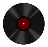 Le disque vinyle de longue pièce a isolé - l'étiquette blanc rouge Photographie stock libre de droits