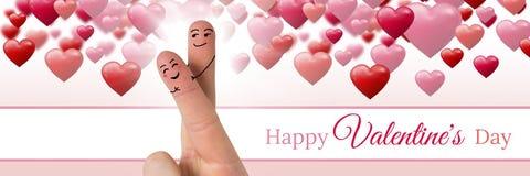 Le dita del ` s del biglietto di S. Valentino amano le coppie ed i cuori pieni di bolle felici del testo del giorno del ` s del b Fotografie Stock