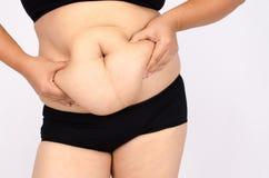 Le dita della donna che misurano il suo grasso della pancia Fotografia Stock