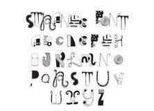Le divers ABC de formes marque avec des lettres tiré par la main avec l'encre et décoré avec différents styles Police anglaise bo Image libre de droits
