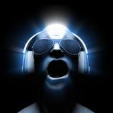 Le DJ avec des écouteurs Image stock
