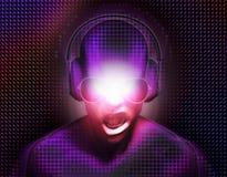 Le DJ avec des écouteurs illustration de vecteur