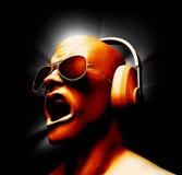 Le DJ avec des écouteurs Image libre de droits