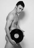 Le DJ avec du vinyle images stock