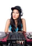 Le DJ avec ses trains Photo libre de droits