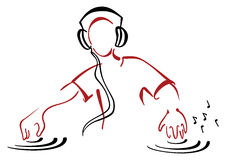 Le DJ derrière la console Photo libre de droits