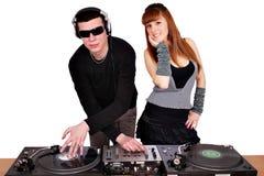 Le DJ et la belle fille Photos stock