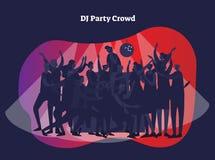 Le DJ font la fête l'illustration de vecteur de foule Amis adultes et couples appréciant la vie, le club, la célébration et le di illustration de vecteur