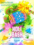 Le DJ font la fête la bannière pour la célébration de Holi illustration stock
