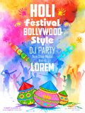 Le DJ font la fête la bannière pour la célébration de Holi Photo stock