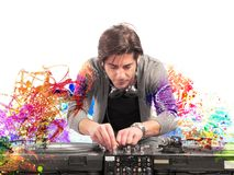 Le DJ jouant la musique Image stock