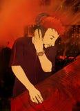 Le DJ jouant le positionnement illustration de vecteur