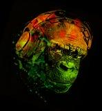 Le DJ monkey la conception de T-shirt de musique d'écouteurs Images libres de droits