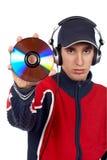 Le DJ retenant un disque Image stock