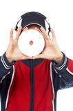 Le DJ retenant un disque Image libre de droits
