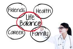 Le docteur écrit le concept 1 d'équilibre de la vie Photo libre de droits