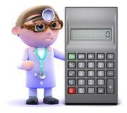 le docteur 3d calcule avec une calculatrice Image stock