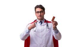 Le docteur de superhéros d'isolement sur le blanc Image libre de droits