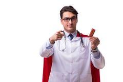 Le docteur de superhéros d'isolement sur le blanc Photos stock