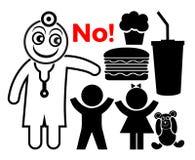 Le docteur disent non à la nourriture industrielle illustration de vecteur