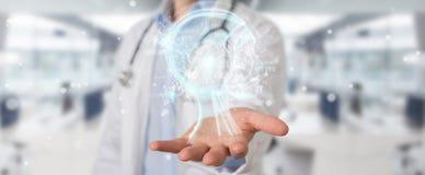 Le docteur employant l'interface numérique 3D d'intelligence artificielle rendent Photos stock