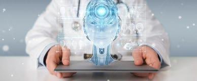 Le docteur employant l'interface numérique 3D d'intelligence artificielle rendent Images libres de droits