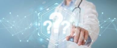 Le docteur employant les points d'interrogation numériques connectent le rendu 3D Photos libres de droits