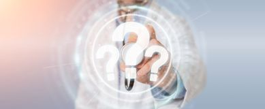 Le docteur employant les points d'interrogation numériques connectent le rendu 3D Photographie stock