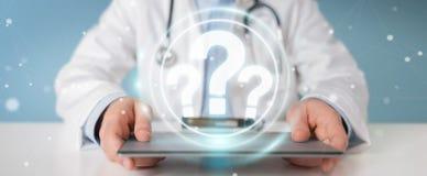 Le docteur employant les points d'interrogation numériques connectent le rendu 3D illustration libre de droits