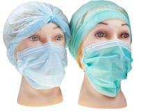 Le docteur fictif dirige le capuchon et le masque chirurgicaux s'usants de textile images libres de droits