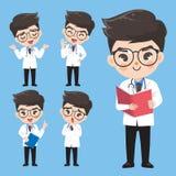 Le docteur montrent un grand choix de gestes et d'actions dans des vêtements de travail illustration libre de droits