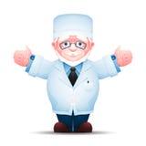 Le docteur plus âgé a étiré ses mains aux deux côtés illustration de vecteur