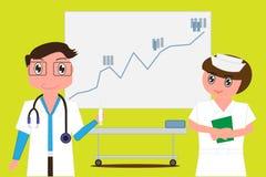 Le docteur tient la seringue et les infirmières ont des dossiers dans leurs mains sur le fond pendant que les statistiques embarq Image stock