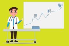 Le docteur tient la seringue et sur le fond pendant que les statistiques embarquent Plus grandes statistiques de la maladie de la Image stock