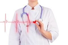Le docteur tient un coeur de jouet, fond d'isolement Photographie stock libre de droits