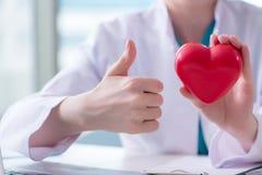 Le docteur vérifiant vers le haut du coeur dans le concept médical Image libre de droits