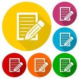 Le document avec des icônes de crayon a placé avec la longue ombre Photo stock