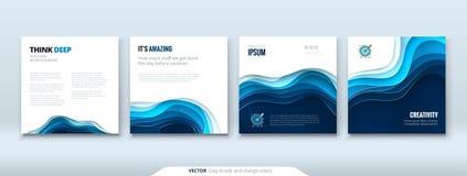Le document de concept de fond de coupe de papier découpent le fond abstrait bleu pour la conception d'insecte de brochure de ban Photo stock