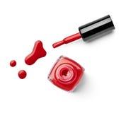 Le doigt de vernis à ongles composent le cosmétique de beauté Photo libre de droits