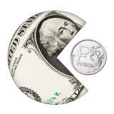 Le dollar américain mange le plan rapproché de rouble russe Images stock