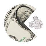 Le dollar américain mange le rouble russe Photos stock
