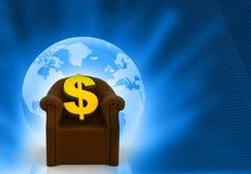 Le dollar chantent sur la chaise Photographie stock libre de droits