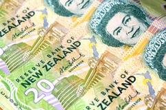 Le dollar de devise du Nouvelle-Zélande note l'argent Photos stock