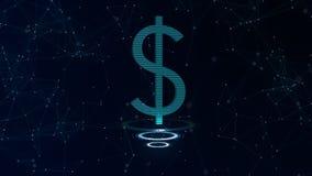 Le dollar de monnaie internationale est sur trois circlers rougeoyants virtuels Les traits horizontaux ont relié le signe entier  illustration libre de droits