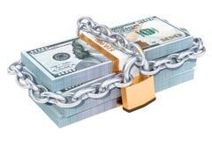 Le dollar emballe avec le cadenas et la chaîne, le rendu 3d Photographie stock libre de droits