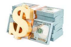 Le dollar emballe avec le symbole d'or du dollar, le rendu 3D Images stock