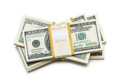 le dollar empile des dix-millièmes Photo stock