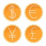 Le dollar, euro, Yen, martèlent les pièces de monnaie d'or, différentes devises, illustration d'argent de vecteur illustration de vecteur